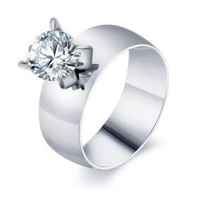 bague argentée diamant