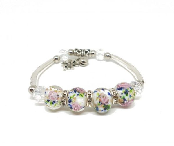 Bracelet blanc perles de verre – roses