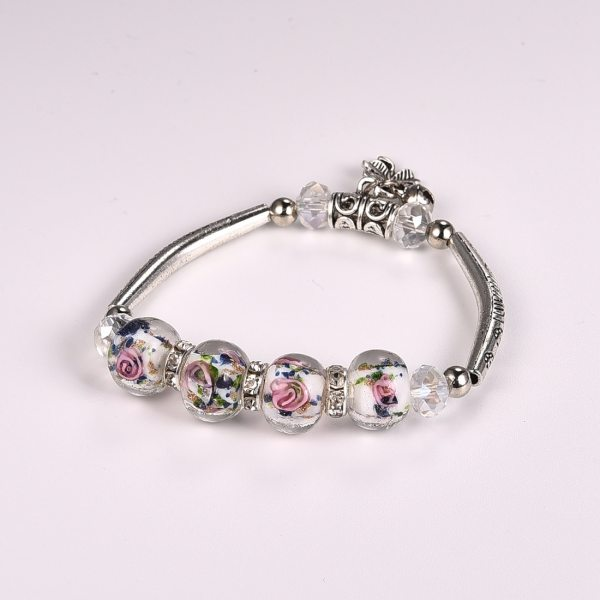 Bracelet blanc perles de verre - roses