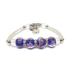 Bracelet bleu perles de verre - roses