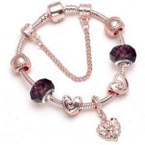 Bracelet charms rose gold et violet