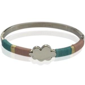 Bracelet jonc argenté rose vert