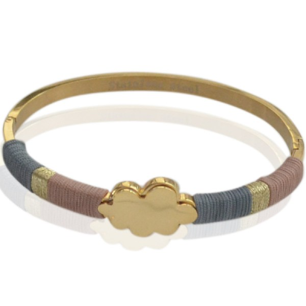 Bracelet jonc doré fils bleu rose
