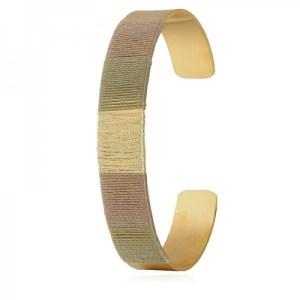 Bracelet jonc fils kaki doré
