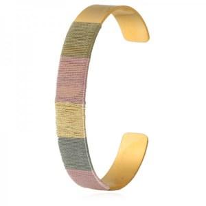 Bracelet jonc fils violet doré