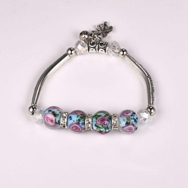 Bracelet turquoise perles de verre - roses