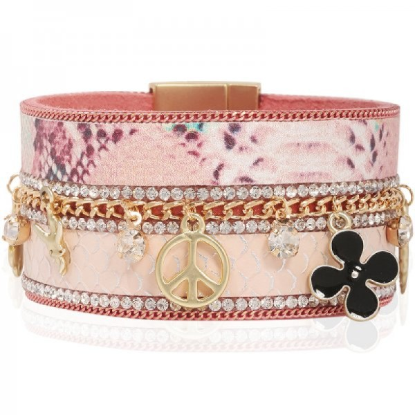 Manchette charms peace rose
