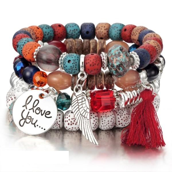bracelet boho rouge
