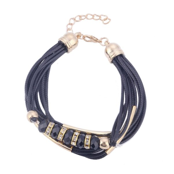 bracelet multi cordons noir