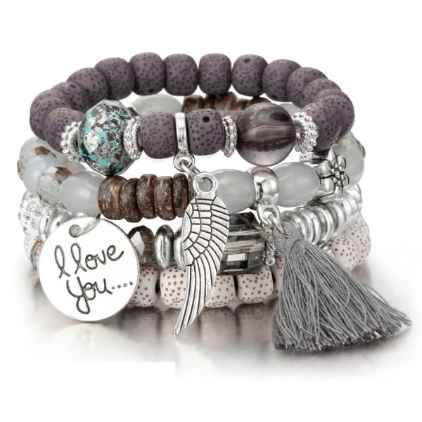 Bracelet boho gris