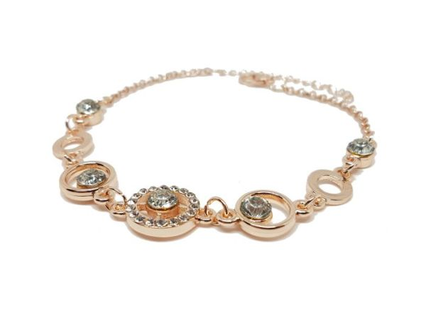 Bracelet anneau strass rose gold zoom