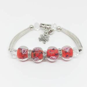 Bracelet rouge perles de verre - roses
