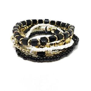 Bracelets perles breloques noirs