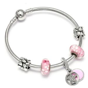 Bracelet charms fleurs roses