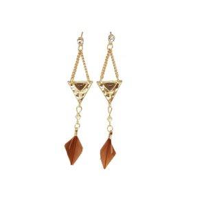 Boucles d'oreilles géométriques plumes marrons