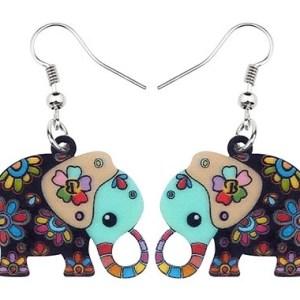 boucles d'oreilles éléphant multicolore