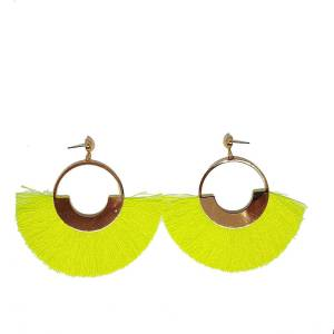Boucles d'oreilles fils jaune fluo