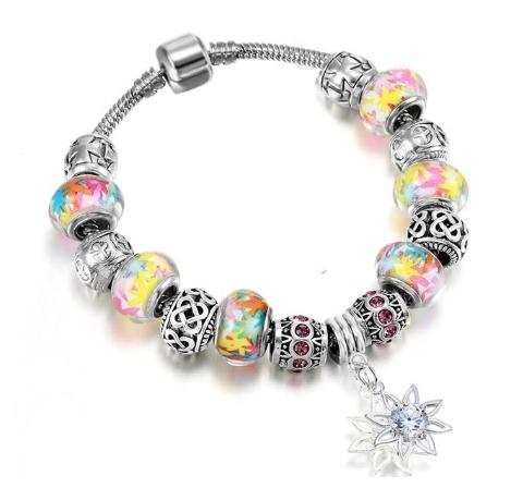 bracelet charms jaune murano