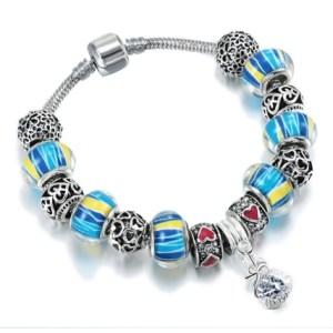 bracelet murano bleu jaune