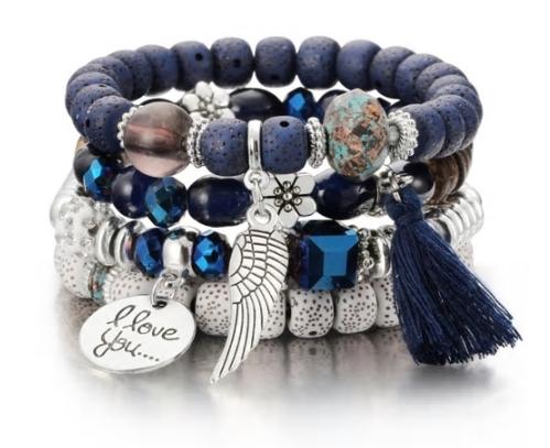bracelet boho bleu