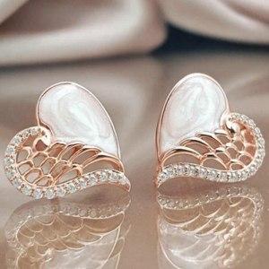 Boucles d'oreilles coeur ailes d'ange