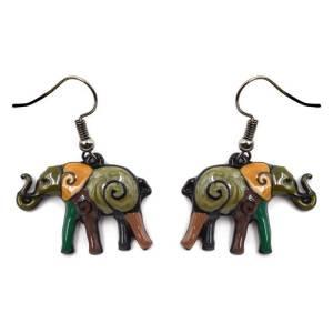 Boucles d'oreilles éléphant vert