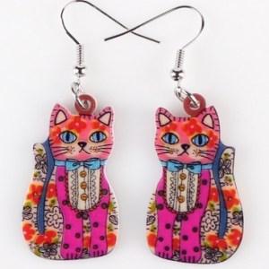 Boucles d'oreilles chat fleurs