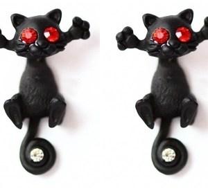 Boucles d'oreilles chat yeux rouges