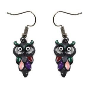 Boucles d'oreilles chouette multicolore
