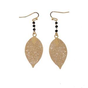 Boucles d'oreilles pendantes feuille or