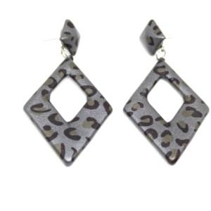 Boucles d'oreilles léopard gris foncé