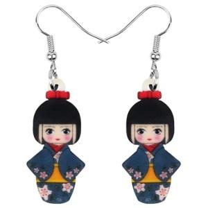 Boucles d'oreilles poupée kimono fleurs
