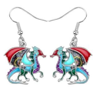 Boucles d'oreilles émail dragon