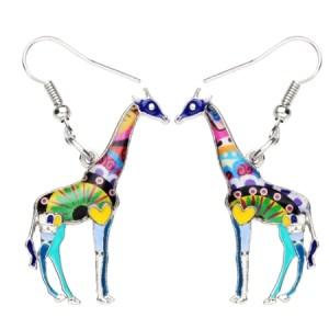 Boucles d'oreilles émail girafe bleu