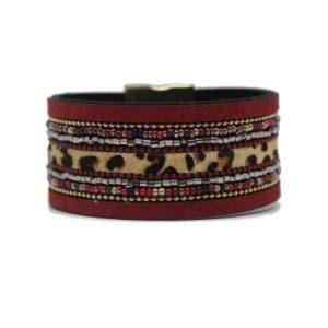 Bracelet manchette léopard rouge