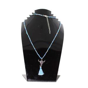 Sautoir taureau perles bleu