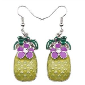 Boucles d'oreilles émail ananas