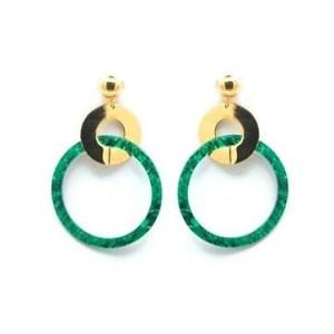 Boucles d'oreilles anneau vert
