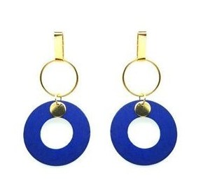 Boucles d'oreilles anneau bleu