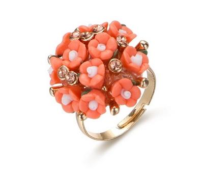 Bague bouquet de fleurs corail