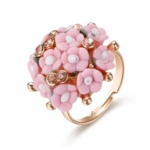 Bague bouquet de fleurs rose