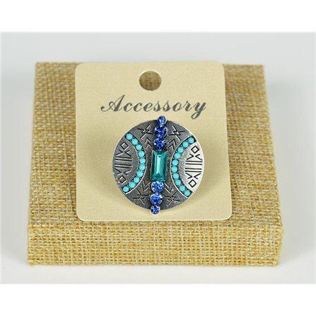 Bague ethnique perles et strass bleu
