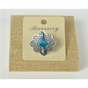 Bague fleur strass bleu