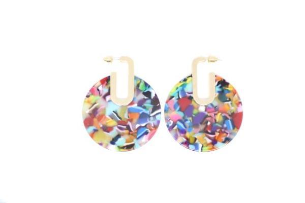 Boucles d'oreilles résine multicolore