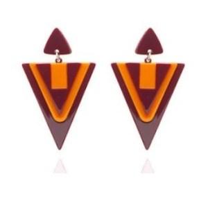 Boucles d'oreilles triangles oranges