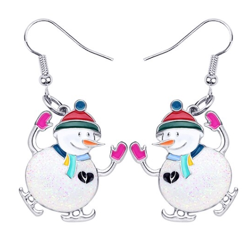 Boucles d'oreilles bonhomme de neige émail