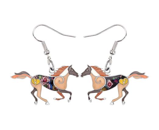 Boucles d'oreilles chat émail cheval
