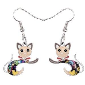 Boucles d'oreilles chat émail marron
