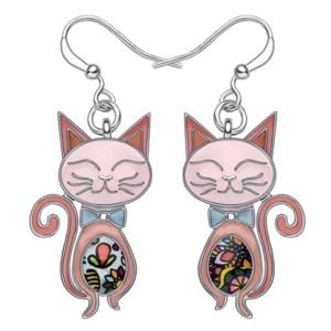 Boucles d'oreilles chat émail rose