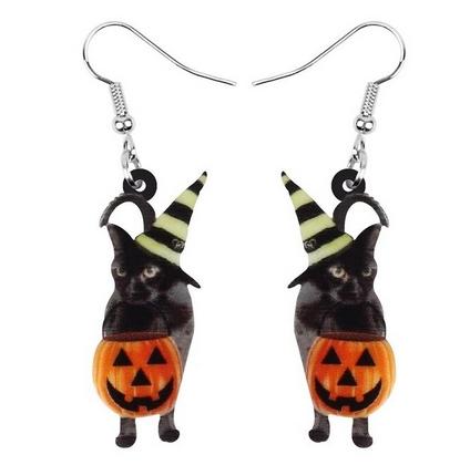 Boucles d'oreilles chat noir citrouille